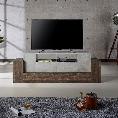 80 Lums Tv Stand Reclaimed Oak Brown Mibasics Brown Brown