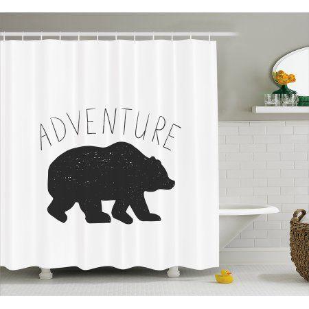 Adventure Shower Curtain Black Silhouette Of A Wild Bear Zoo