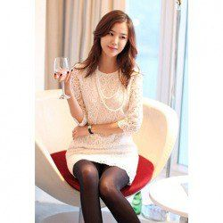 $19.21 Ladylike Scoop Collar White Color Half  Sleeve Openwork Lace Dress For Women