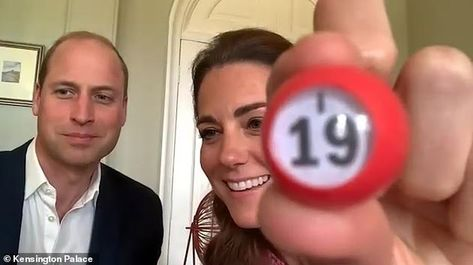 Kate was seen beaming as she drew a number 19 during a game of Bingo with residents from t...