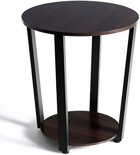 Shop For Tangkula Round End Table 2 Tier Metal Sofa Table Storage Shelf Side Table Metal Frame Industrial Style Accent Furniture Home Living Room Bedroom Wa In 2020 Walnut Furniture Living Room