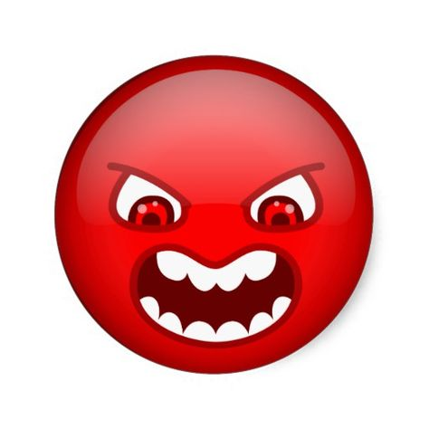 Angry Red Classic Round Sticker Zazzle Com Emoticon Smiley