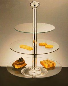 Godinger Silver Plated 3 Tier Glass Server Tiered Cakes Tiered Cake Stand Silver Plate