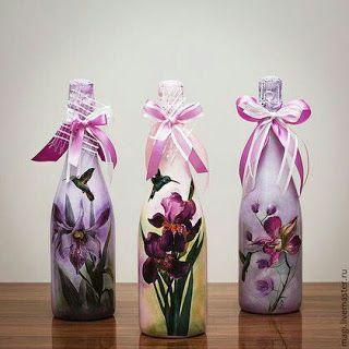Decora Y Recicla Tus Botellas De Vidrio Con Servilletas De Decoupage Haz Manualidades Botellas De Vidrio Envases De Vidrio Decorados Lámparas Con Botellas
