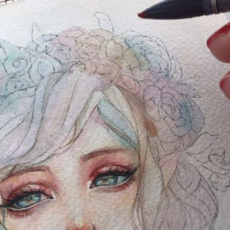 💖💖💖..#art #videoart #watercolor #wip #margaretmoralesart #video