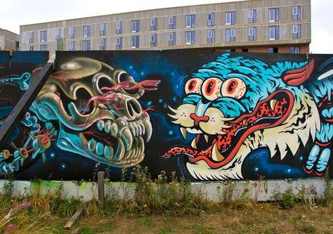 Nychos x DXTR x Gevaer New Mural In Copenhagen, Denmark StreetArtNews