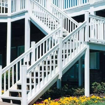 Beaumont Straight Railing Stair Railing Outdoor Stair Railing Exterior Stairs