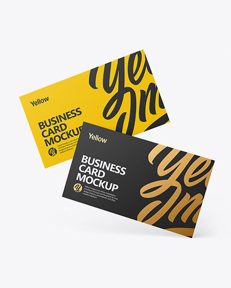 Two Business Cards Mockup In Stationery Mockups On Yellow Images Object Mockups Business Card Mock Up Free Mockup Mockup Free Psd