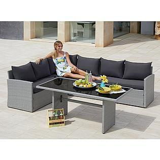 Tisch 150x80.Konifera Gartenmöbelset Santiago New 19 Tlg 6 Sessel