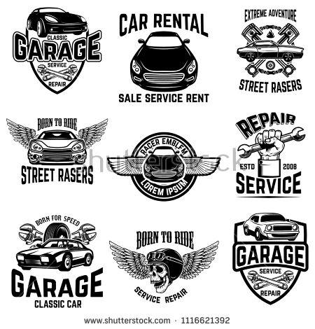 Car Repair Garage Auto Service Emblems Design Elements For Logo Label Sign Vector Image Kupite Eto Vektornoe Izobr Auto Repair Classic Car Rental Repair