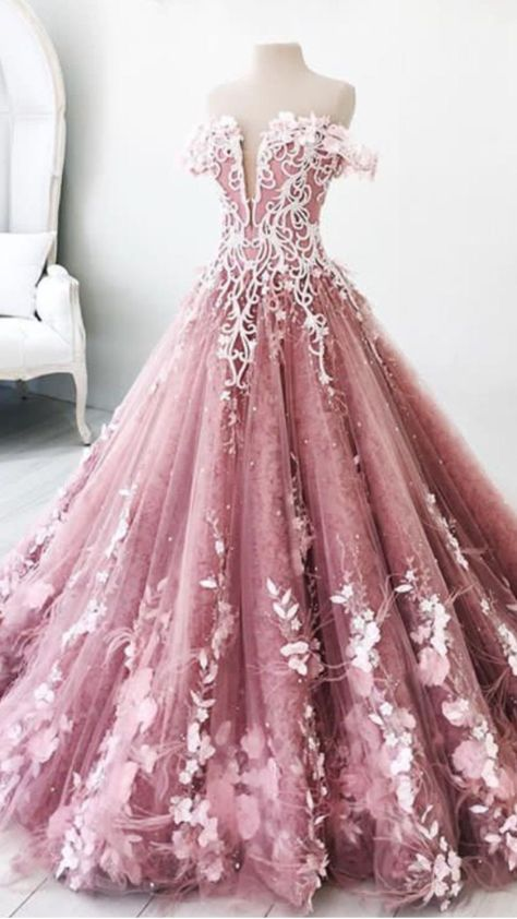 ball gown pink long prom dress