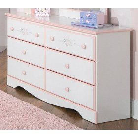 Sweet Dreams 6-Drawer Dresser In White/Pink Finish by Standard Furniture