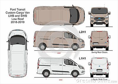Ford Transit Custom Cargo Delivery Van Swb L1h1 And Lwb L2h1 Low Roof 2018 2019 Detailed Template For Design And