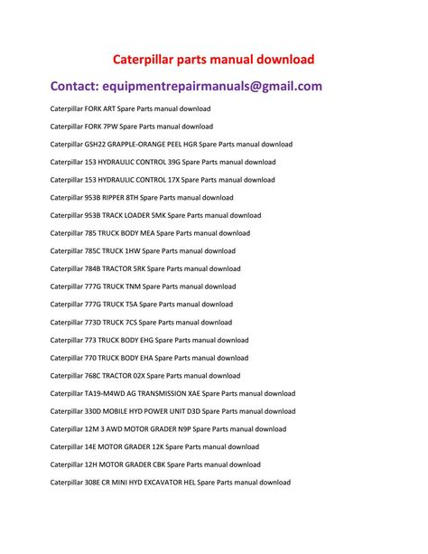 tractor parts manual pdf