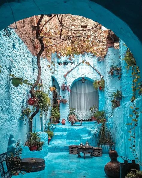 This courtyard in Chefchaouen, Morocco. - Album on Imgur