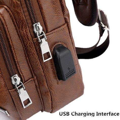 Mens Sling Bags Travel Daypack with USB Charging Port Outdoor CrossBody Bag