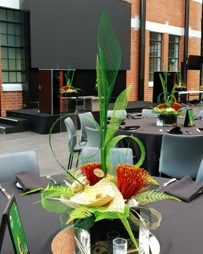 Artiflax Pohutukawa Centrepiece In 2020 Creative Flower Arrangements Corporate Flowers Flax Flowers