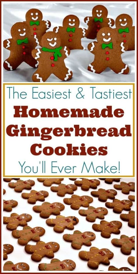 Cookies Recipe for Perfect Gingerbread Men! The easiest recipe for perfect gingerbread men and other cutout cookies!The easiest recipe for perfect gingerbread men and other cutout cookies! Galletas Cookies, Holiday Cookies, Holiday Desserts, Holiday Baking, Holiday Treats, Christmas Cut Out Cookies, Summer Cookies, Valentine Cookies, Easter Cookies