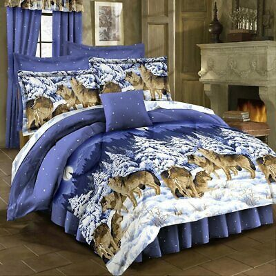Blue White Snow Wolves Wolf Moon 4 Pc, Wolf Bed In A Bag Queen