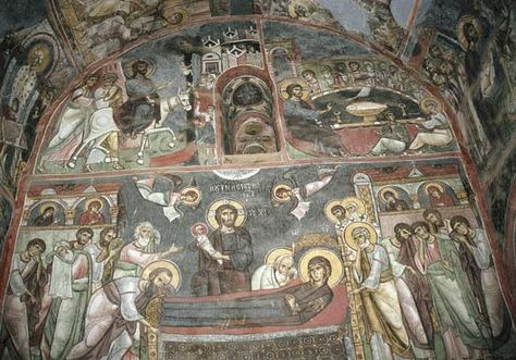 Byzantine frescoes in the 11th–12th-century Church of Panayia Phorviotissa in Asinou, near Nikitari, Cyprus. Some paintings date from the period of the church's construction, and others have been dated to the 14th century.