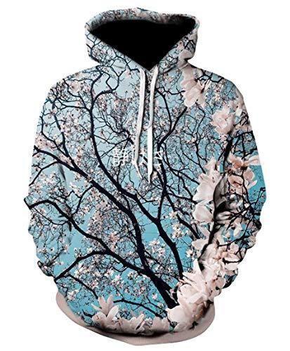 Cherry Blossom Hoodie 3d Digital Print Pullover Hoodie American Hooded With Big Pockets In 2021 Hoodies Womens Fashion Printed Hoodies Sweatshirts Hoodie Fashion