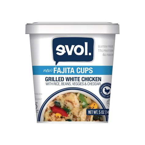 Evol Grilled White Chicken with Rice Beans Veggies & Cheese Fajita Cup 5oz