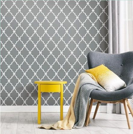 Modern Trellis Gray Peel And Stick Wallpaper Wall Sticker Outlet Wallstickeroutlet Walldecor Modern Trellis Peel And Stick Wallpaper Roommate Decor