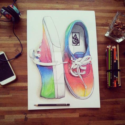 colour pencil on rainbow vans