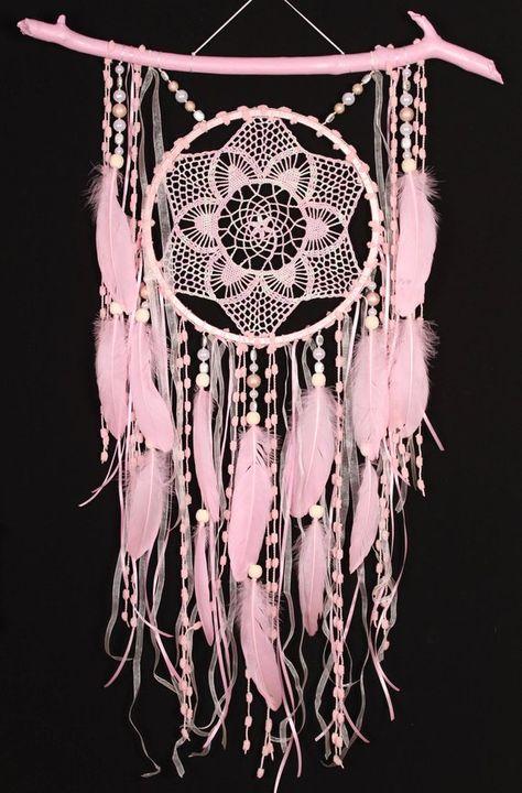 DreamcatcherShopUa - Christmas gift pink Dreamcatchers crochet dreamcatcher American mascots Bohemian wall hanging boho baby wall pink Decor Indian talisman gift