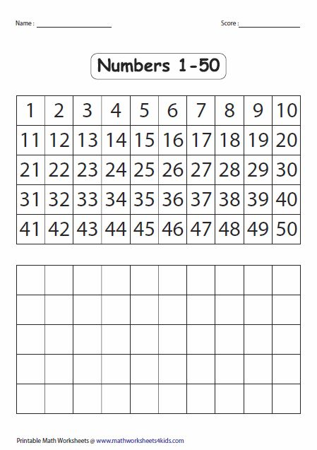 fill in the blank number chart 1-50 10 Best Images of Number Chart