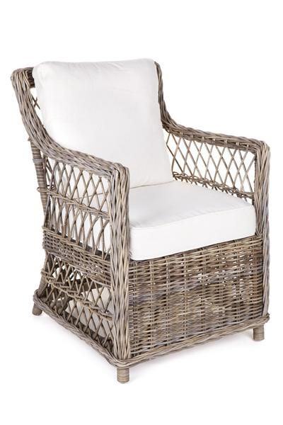 Chair Open Weave Wicker With Arms Includes Cushions Minor Marks