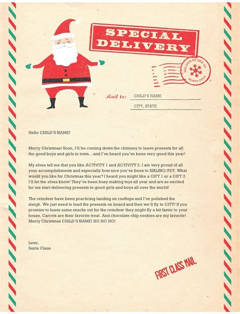 Letter From Santa Template Free Download Special Delivery Santa Letter Santa Letter Template Christmas Letter Template Free Santa Letter Template
