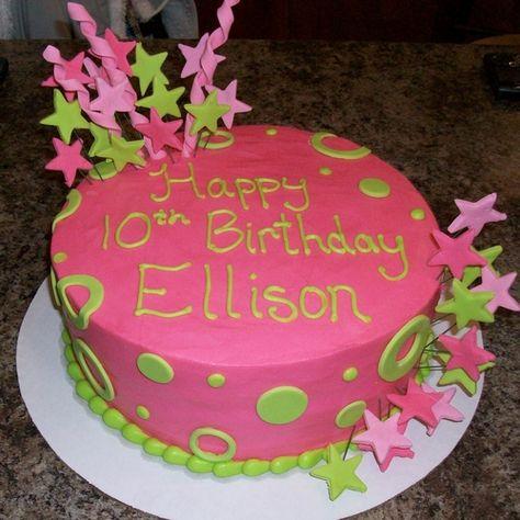 Swell Pink Green Stars Birthday Cake By Freshbakedva Com Birthday Personalised Birthday Cards Beptaeletsinfo