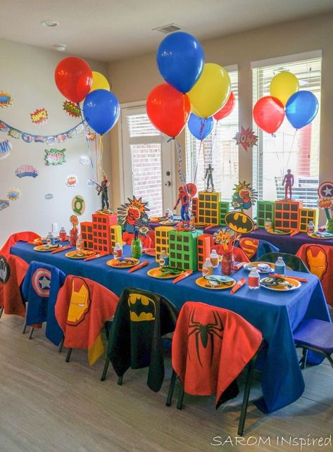 SAROMINspired Superhero Birthday DIY Do It Yourself Decorating Crafts Crafter Party Planner Event Planner Hosting Houston HTX Pearland PearlandTX Batman IronMan Wonderwoman AntMan TheHulk Spiderman CaptainAmerica tablescape - Superman Birthday Party, Avengers Birthday, Boy Birthday Parties, Spiderman Theme Party, Superhero Party Food, 5th Birthday Ideas For Boys, Ironman Birthday, Superman Party Favors, Spiderman Birthday Ideas