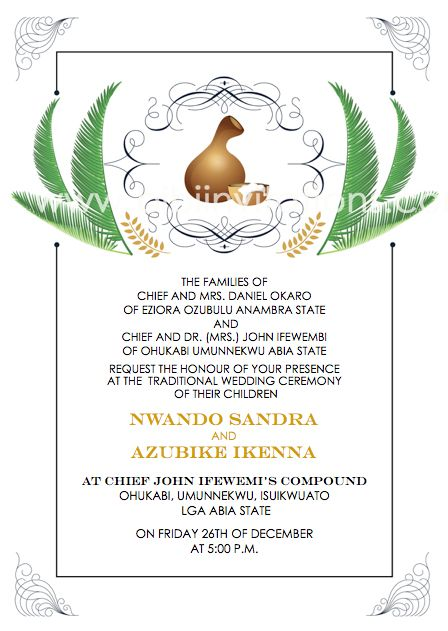 Downloadable Igba Nkwu Invitation Template With Images