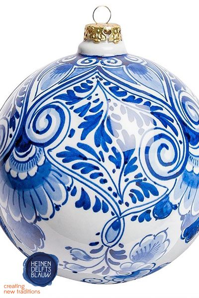 Christmas Bauble Floral Motif Large Painted Christmas Ornaments Blue Christmas Christmas Baubles