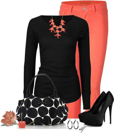 I love this color combination of the bright color being toned down by the black. Also always love a fitted sweater. Don't like that handbag, it looks like a little girl's dress-up thing to me.