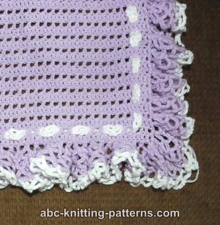 ABC Knitting Patterns - Baby Blanket with Ruffle.
