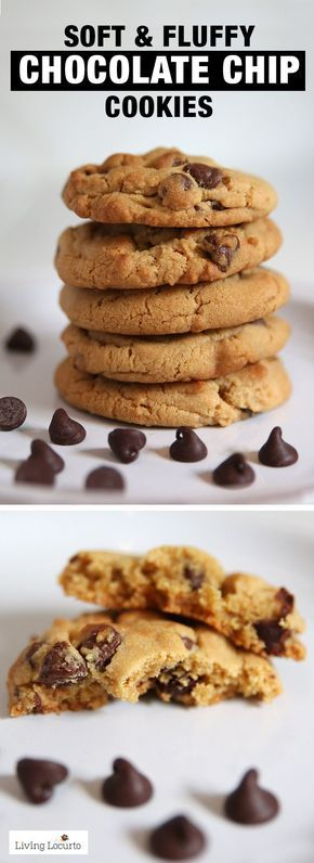 A recipe for the BEST and softest chocolate chip cookies! Soft fluffy cookies that come out perfect every time. A classic chocolate chip cookie recipe. LivingLocurto.com #cookies #chocolate #chocolatechip #recipe #baking #softcookies #livinglocurto