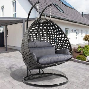 Outdoor Furniture Wicker Swing Chair Double Hammock 2 Person