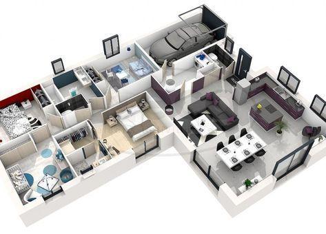 Maison Selene 4 Chambres 3d Plansdemaisonavecmezzanine House Layout Plans House Plans Family House Plans