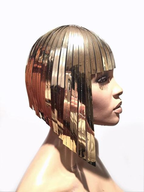 THE ORIGINAL Divamp WIG ,Cleopatra metallic wig ,hairdress egyptian goddess ,bob wig ,hairpiece bobcut headpiece metal futuristic Cleopatra metallic wig hairdress in chrome or gold egyptian goddess wig bob hairpiece bobcut headpiece metal futuristic