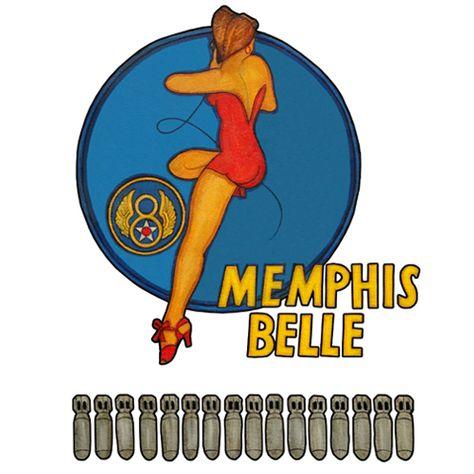 Our Memphis Belle Nose Art T Shirt features WWII Bomber nose art silk screened on cotton t-shirt. Original artwork from artist John Schumick.