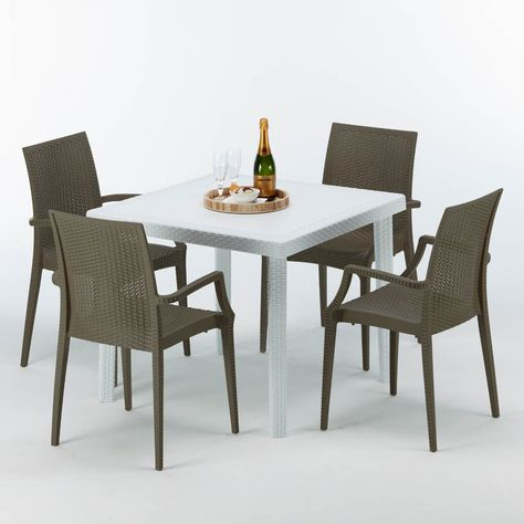 Table Carree Et 4 Chaises Poly Rotin Resine Colorees 90x90 Blanc