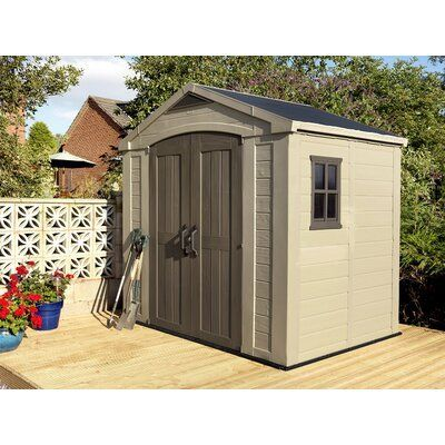 Keter Factor 8 Ft W X 6 Ft D Plastic Storage Shed In 2020 Plastic Sheds Plastic Storage Sheds Shed Storage