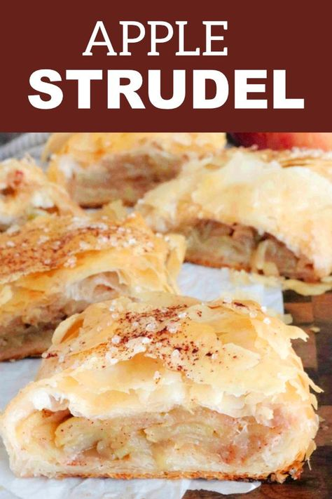 An easy Apple Strudel recipe with layer upon layer of apple filling. This is everything you need to know and more about how to make Homemade Apple Strudel with Phyllo dough! Plus, the easiest way to fold it all together, what to serve with strudel, and how you should store it for future use! #applestrudel #phyllo #applerecipes #fallrecipes #fallbaking #apples #strudel