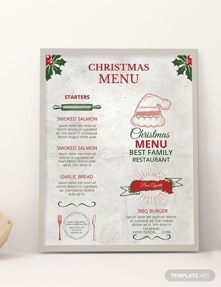 Free Restaurant Christmas Menu Template Word Doc Psd Apple Mac Pages Publisher Christmas Menu Menu Design Template Printable Menu Template