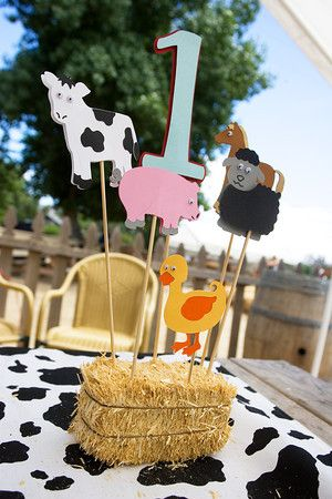 Adorable farm themed centerpieces for first birthday party with hay bale, animals and cow hide!