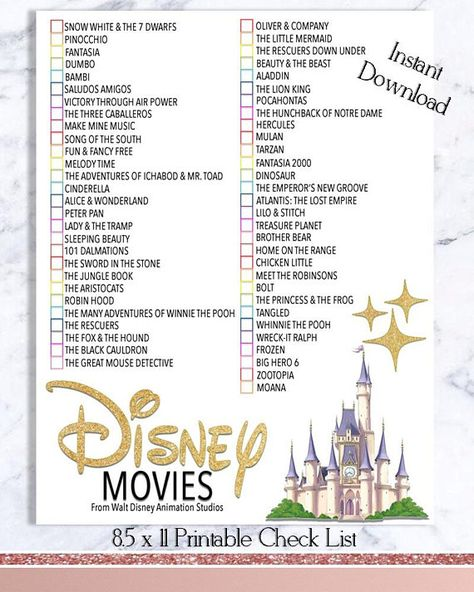 Disney Movie Checklist - Walt Disney Movie Watch List - INSTANT DOWNLOAD