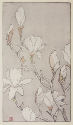 magnolias by E.E.B., 1920. Colored Woodcut on antique-white Japanese hosho